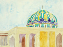 Het originele schilderen van een mooie koepel van een moskee royalty-vrije illustratie