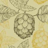 Het originele uitstekende retro naadloze vectorpatroon van de lijnkunst voor bierhuis, bar, bar, brouwend bedrijf, brouwerij, her Stock Afbeelding