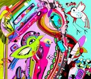 Het originele unieke abstracte digitale eigentijdse verstand van de kunstwerkaffiche Stock Foto