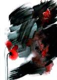 Het originele waterverf zwart-witte schilderen met abstracte rode bloem Royalty-vrije Stock Afbeelding