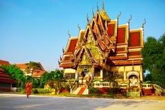 Het oriëntatiepunt van Thailand Wat Phra Yai Temple Sunset Reis, toerisme Royalty-vrije Stock Fotografie