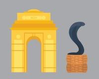 Het oriëntatiepuntreis van India en de vector van de cobraslang Stock Fotografie