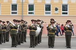 Het orkest is bij repetitie van Militaire Parade Stock Afbeelding