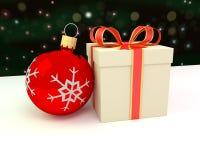 Het ornament en de gift van Kerstmis Royalty-vrije Stock Foto's