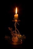 Het ornament en de kaars van Kerstmis Stock Fotografie