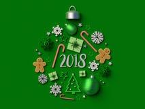 2018 het ornament groene achtergrond van de Kerstmisbal Stock Afbeeldingen