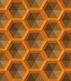 Het ornament met kleine gele zeshoeken, hexagonaal net, rooster, herhaalt tegels stock afbeeldingen