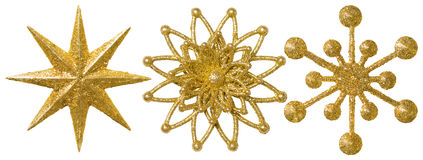 Het Ornament van de Kerstmisdecoratie van de stersneeuwvlok, Overladen Kerstmisgoud royalty-vrije stock afbeelding