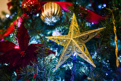 Het ornament van de Kerstmisster op Kerstboom Stock Afbeelding