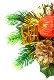 Het ornament van het nieuwjaar in de vorm van een tak met kegel Stock Fotografie