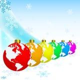 Het ornament van Kerstmis met Aarde. royalty-vrije illustratie