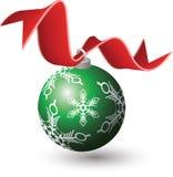 Het Ornament van Kerstmis, Rood Lint Royalty-vrije Stock Foto's