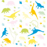 Het ornament van multicolored silhouetten van dinosaurussen Stock Fotografie