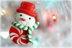 Het ornament van sneeuwmankerstmis stock foto's