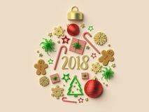 2018 het ornamentachtergrond van de Kerstmisbal Royalty-vrije Stock Fotografie