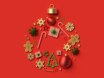 2018 het ornamentachtergrond van de Kerstmisbal Stock Afbeelding