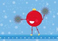 Het ornamentbal van Cheerleaderkerstmis Kerstmis/Nieuwe jarenkaart voor 2017-2018 Eenvoudige leuke illustratie met beeldverhaalka vector illustratie