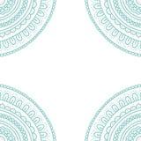 Het ornamentkaart van het krabbelkant Hand getrokken pastelkleur blauwe uitnodiging Royalty-vrije Stock Foto's