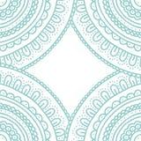 Het ornamentkaart van het krabbelkant Hand getrokken pastelkleur blauwe uitnodiging Stock Foto's