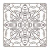 Het ornamentpatroon van de tapijt vierkant tegel Volwassen kleurende boekpagina Binnenlandse geometrische tegeldruk royalty-vrije illustratie