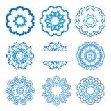Het ornamentreeks van het cirkelkant, rond sier geometrisch doily patroon, sneeuwvlok Stock Afbeeldingen