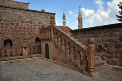Het Orthodoxe Klooster van Mor Gabriele in het zuidoosten van Turkije stock foto