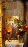 Het Orthodoxe pictogram van de Aankondiging Katholieke kerk van de Aankondiging in Nazareth, Izrael Binnen, artistiek en architec stock foto's