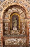 Het ossuariumheiligdom van Faroportugal van beenderendetail in Capela Dos Ossos stock foto's