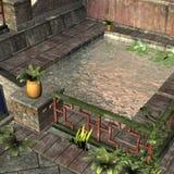 Het oude Aziatische Dorp van de Haven Royalty-vrije Stock Afbeeldingen