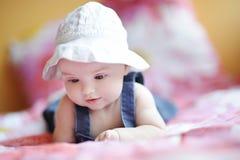 Het oude babymeisje van drie maanden Stock Afbeeldingen