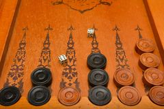 Het oude backgammon van het de raadsspel van het oosten stock foto