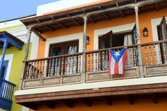 Het oude balkon van San Juan in Puerto Rico royalty-vrije stock fotografie