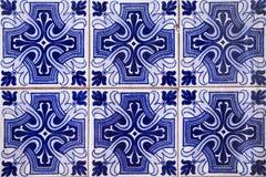 Het oude blauw van Portugal van de tegelmuur stock afbeelding