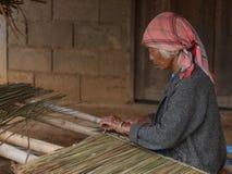 Het oude dame bewerken met stro bedekt Stock Fotografie