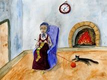 Het oude dame breien stock illustratie