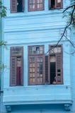 Het oude detail van Stadshavanna van de blauwe Spaanse stijlbouw Stock Afbeelding