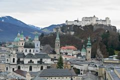 Het Oude District van Salzburg Royalty-vrije Stock Fotografie