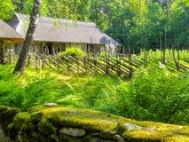 Het oude dorp op de zeekust van de Oostzee stock afbeelding