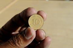 HET OUDE DUITS 10 PFENNING EN 50 POOLSE GROSZY Stock Fotografie