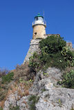 Het oude eiland van vuurtorenkorfu Stock Foto