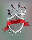 Het oude embleem van de lintbanner met sward en bijl de veiligheid en beschermt stock illustratie