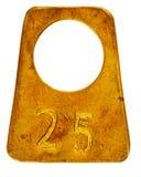 Het oude etiket van de messingsgarderobe met nummer 25 Royalty-vrije Stock Afbeeldingen