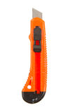 Het oude gebruikte oranje mes van Stanley Stock Foto