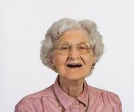 Het oude Glimlachen van de Vrouw Stock Foto