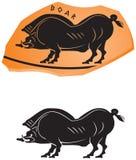 Het oude Griekse ceramische pictogram van het stijl Everzwijn Stock Afbeeldingen