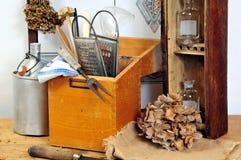 Het oude hout van het keukengereedschap stock foto