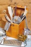 Het oude hout van het keukengereedschap stock afbeelding