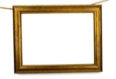 Het oude houten frame hangen op een kabel Royalty-vrije Stock Afbeelding