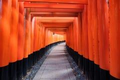 Het oude houten oriëntatiepunt van de toriipoort van Fushimi Inari stock foto