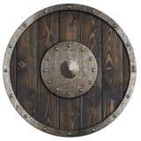 Het oude houten schild van Vikingen ` isoleerde 3d illustratie stock foto